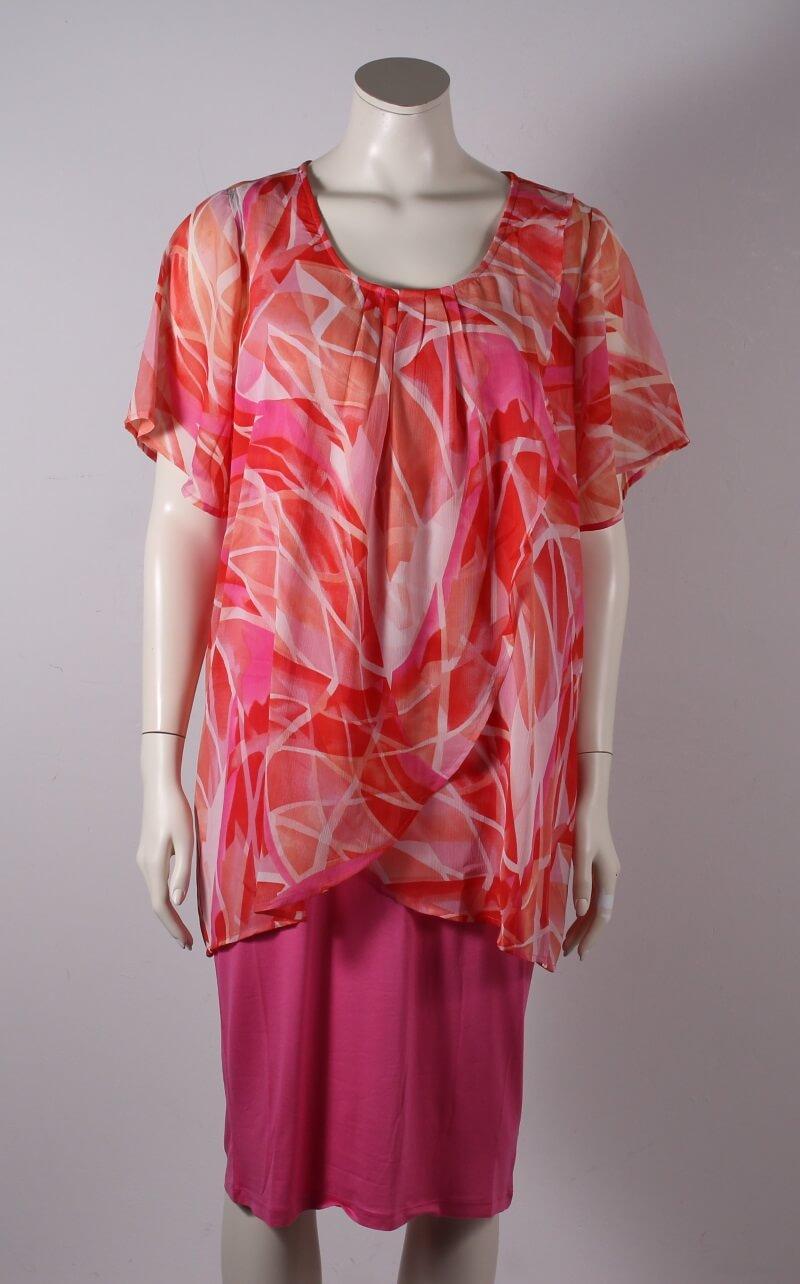 Zhenzi – Plussize – Christa Kjole – Orange/Pink Mønstret – 50%