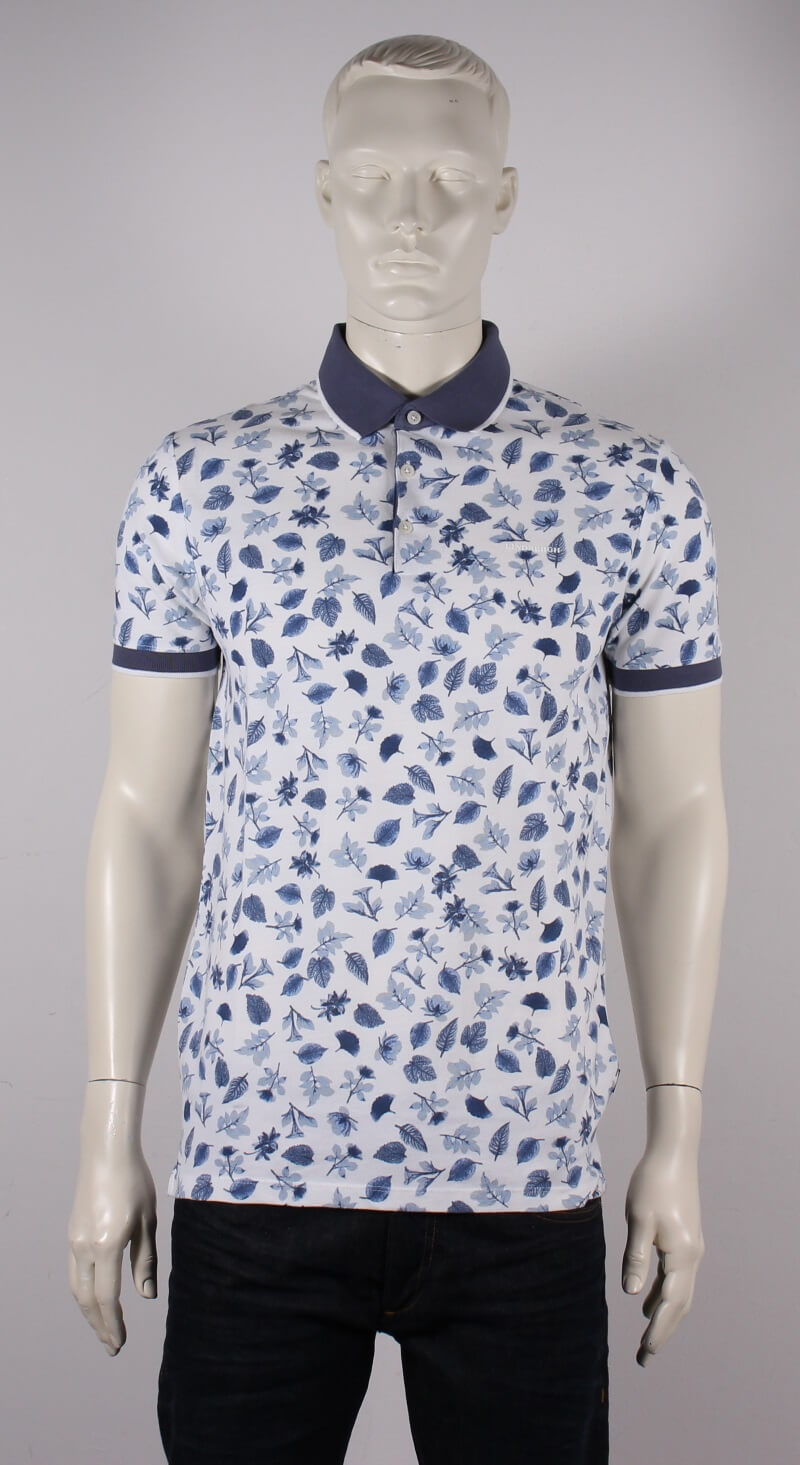 Lindbergh Black – Floral Polo Shirt S/S – Hvid m. Blomster – 50%