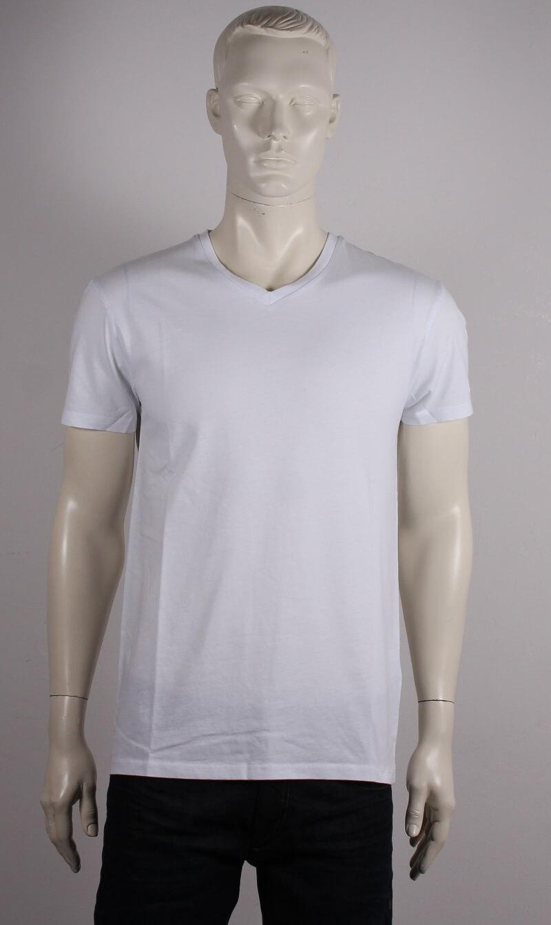 Samsøe Male Kronos T shirt m. V hals Hvid Tilbud