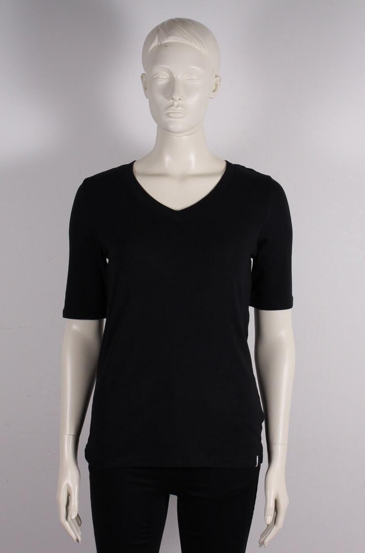 Esprit Dame T shirt m. v hals og kort ærme Sort