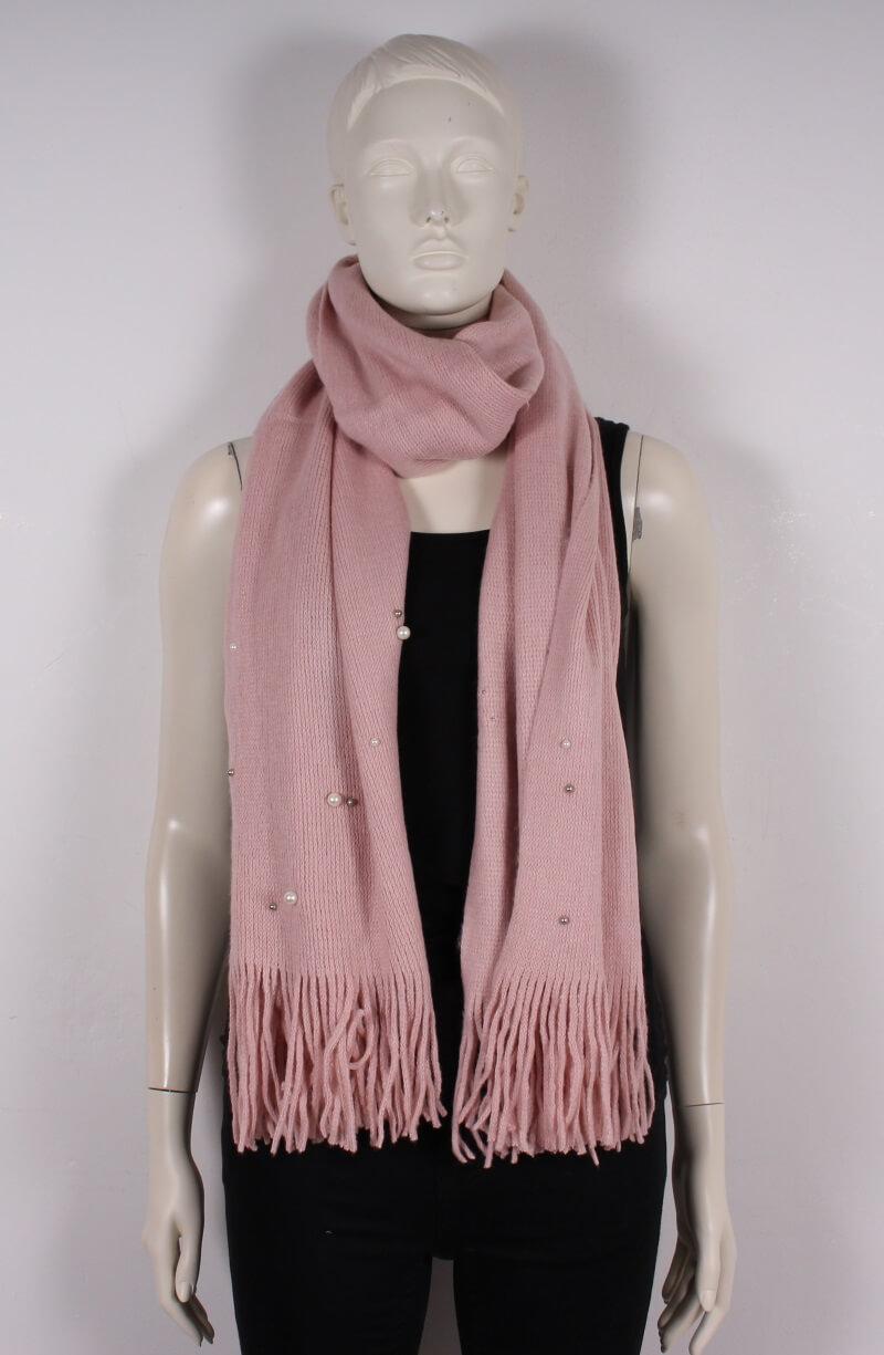 Pieces – Futula Long scarf – m. perler – Rosa – 50%