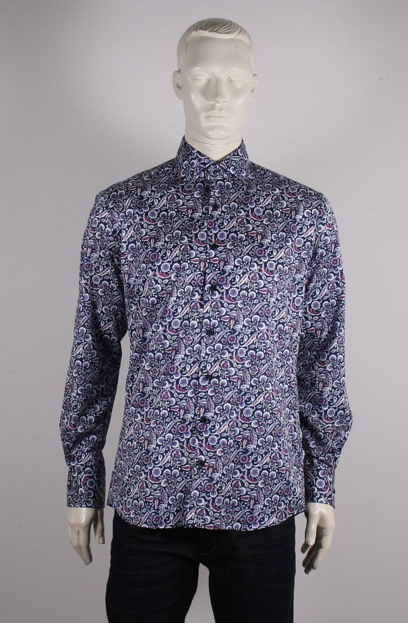 Eterna – Modern Fit Herre Skjorte – Blå Blomstret