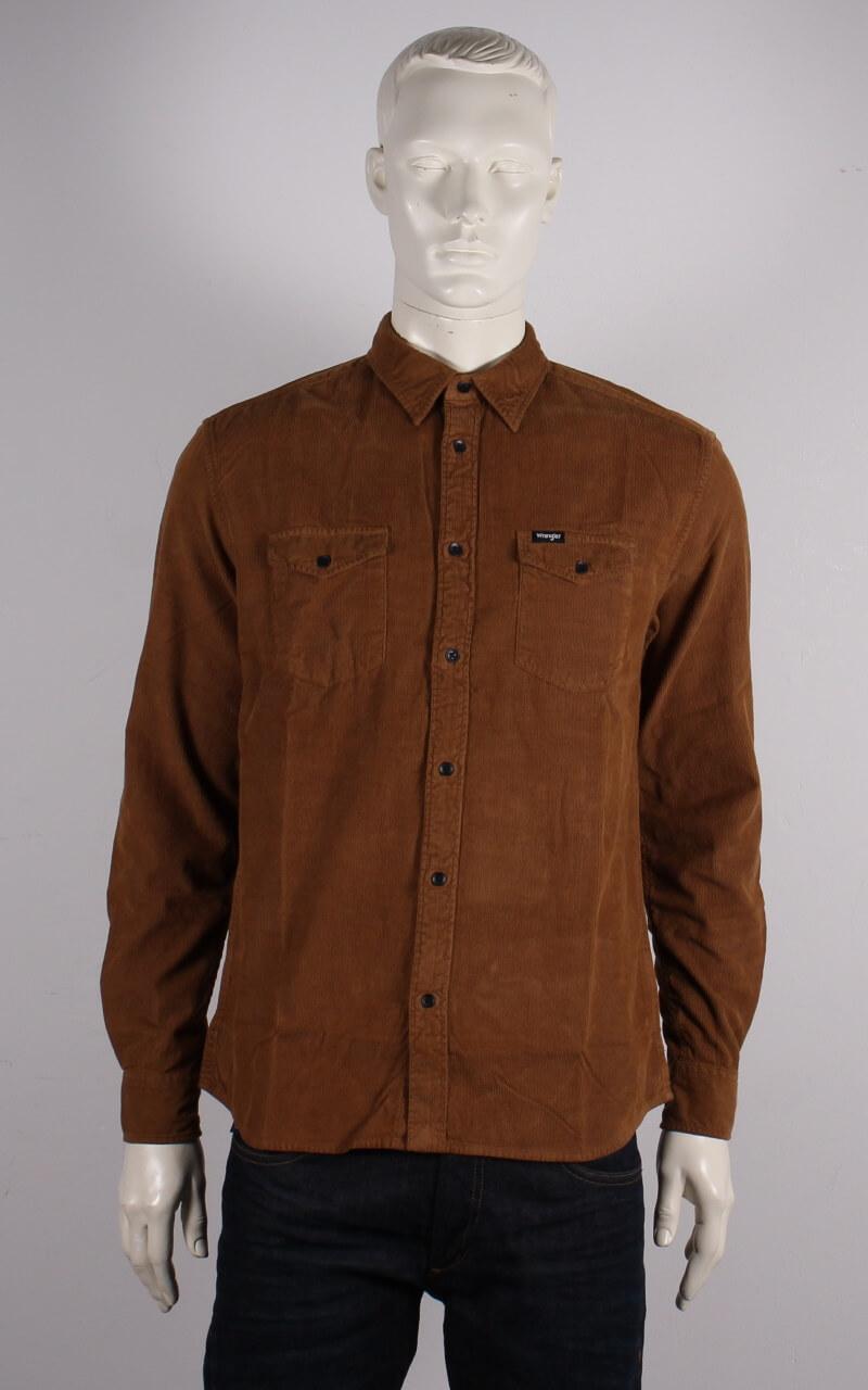 Wrangler – Regular Fit Fløjl Skjorte – Brun