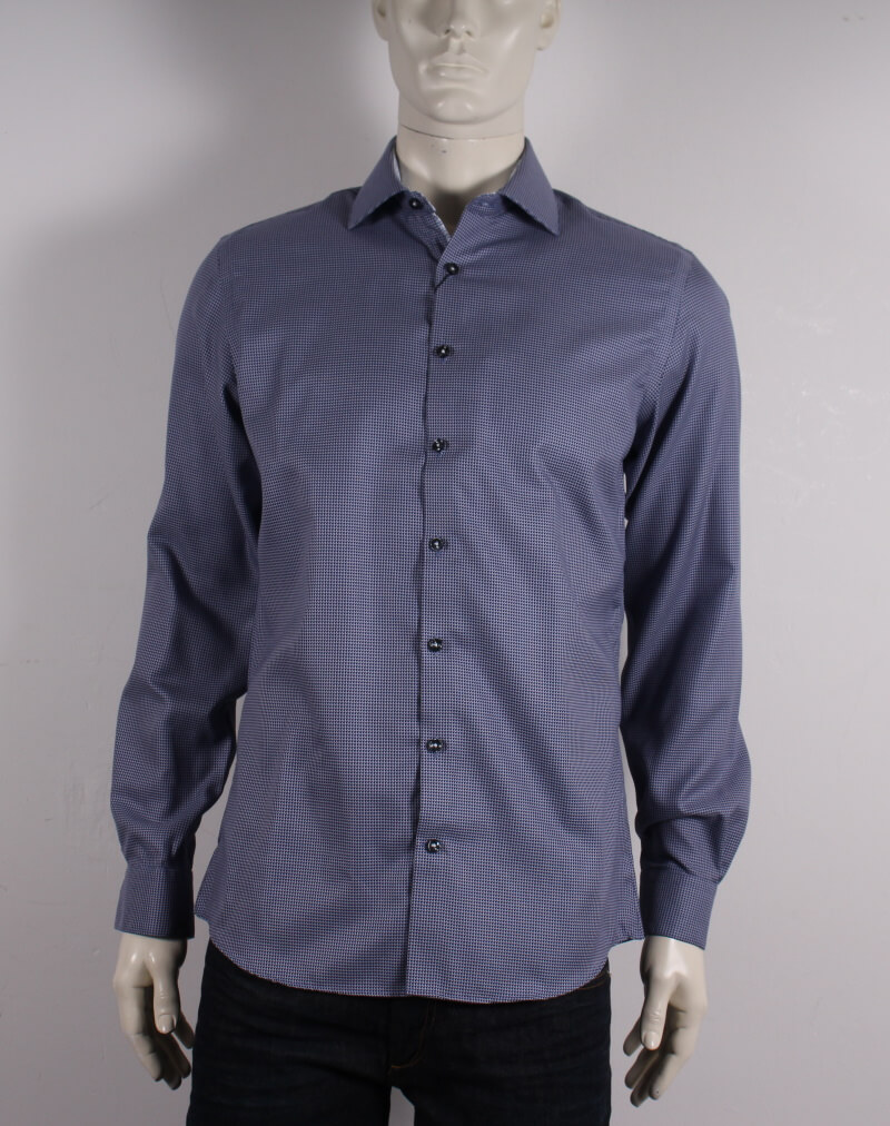 Lindbergh Black – Dobby Skjorte L/S – Lille mønster – Blå – 50%