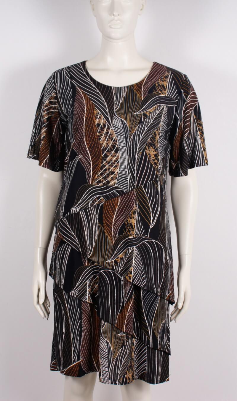 2-Biz – Inez Dame festkjole m. mønster – Sort/Guld