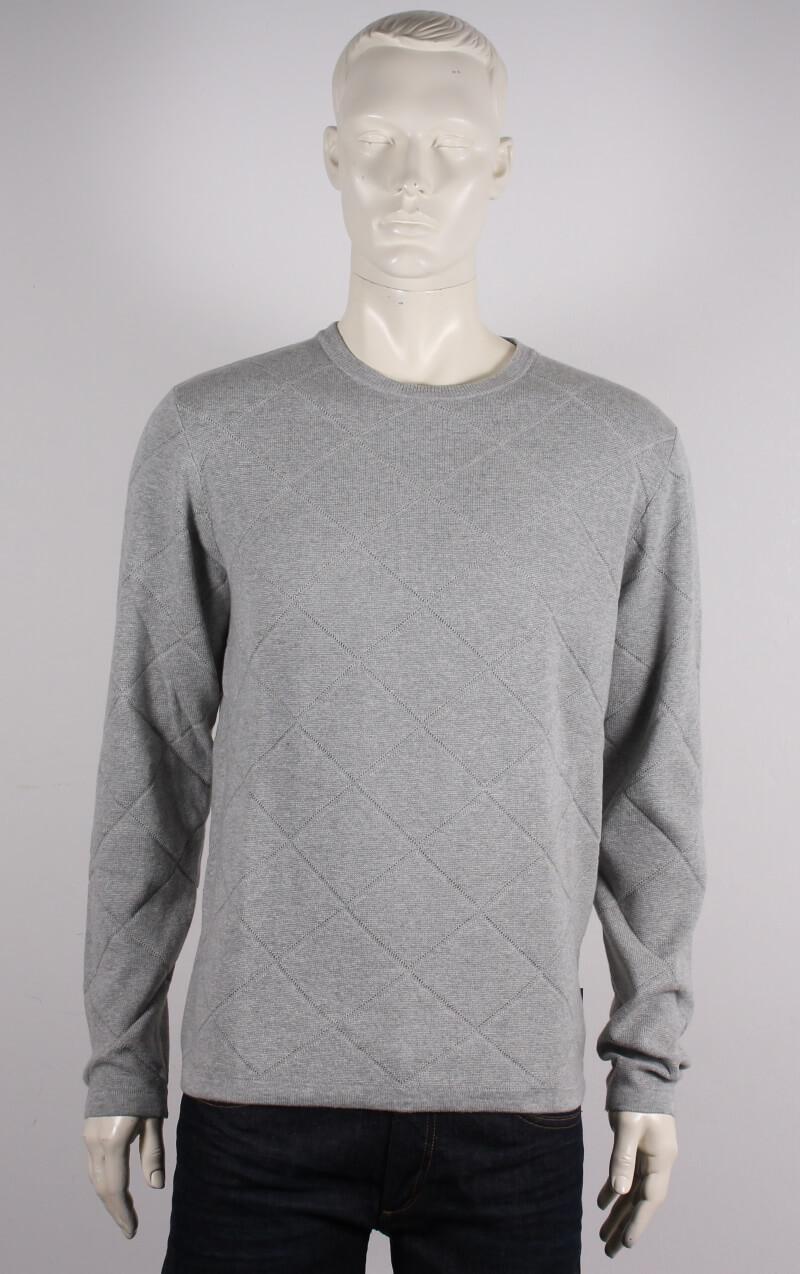 Lindbergh Black – O-neck pullover strik – Grå mel. – 50%