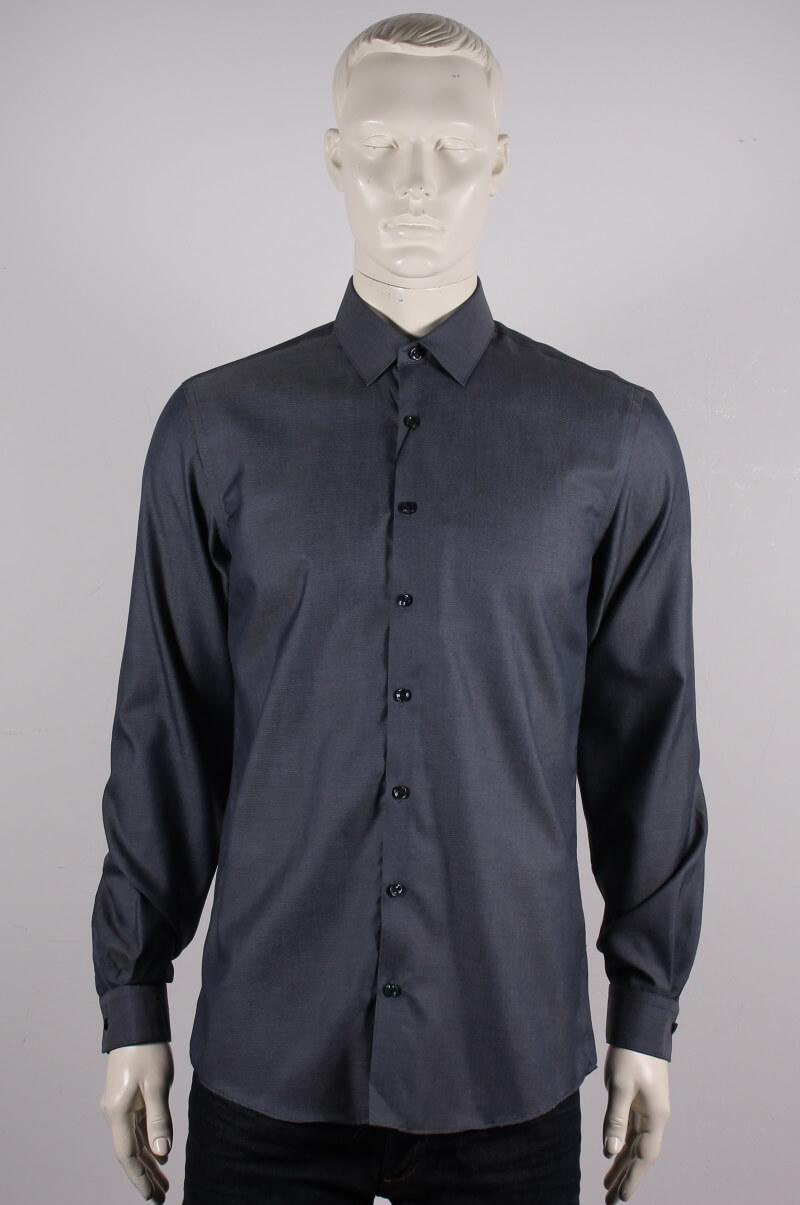 Lindbergh Black – Solid twill Skjorte L/S – Mørkeblå