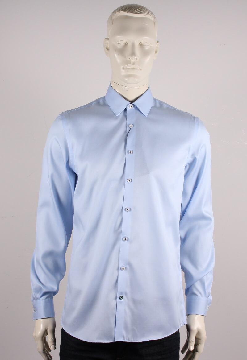 Lindbergh Black – Solid twill Skjorte L/S – Lyseblå