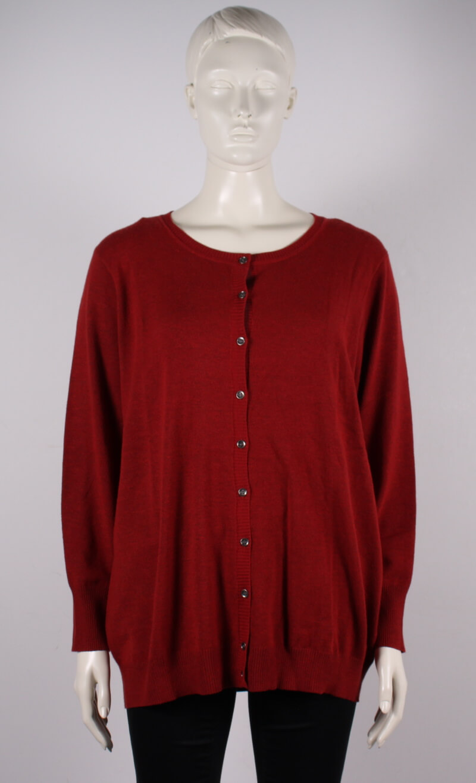 Adia – Plussize – Dame strik cardigan – Brændt Rød – 50%