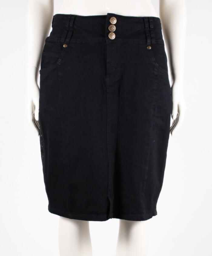 Adia – Plussize – Denim strækbar nederdel – Sort – 50%