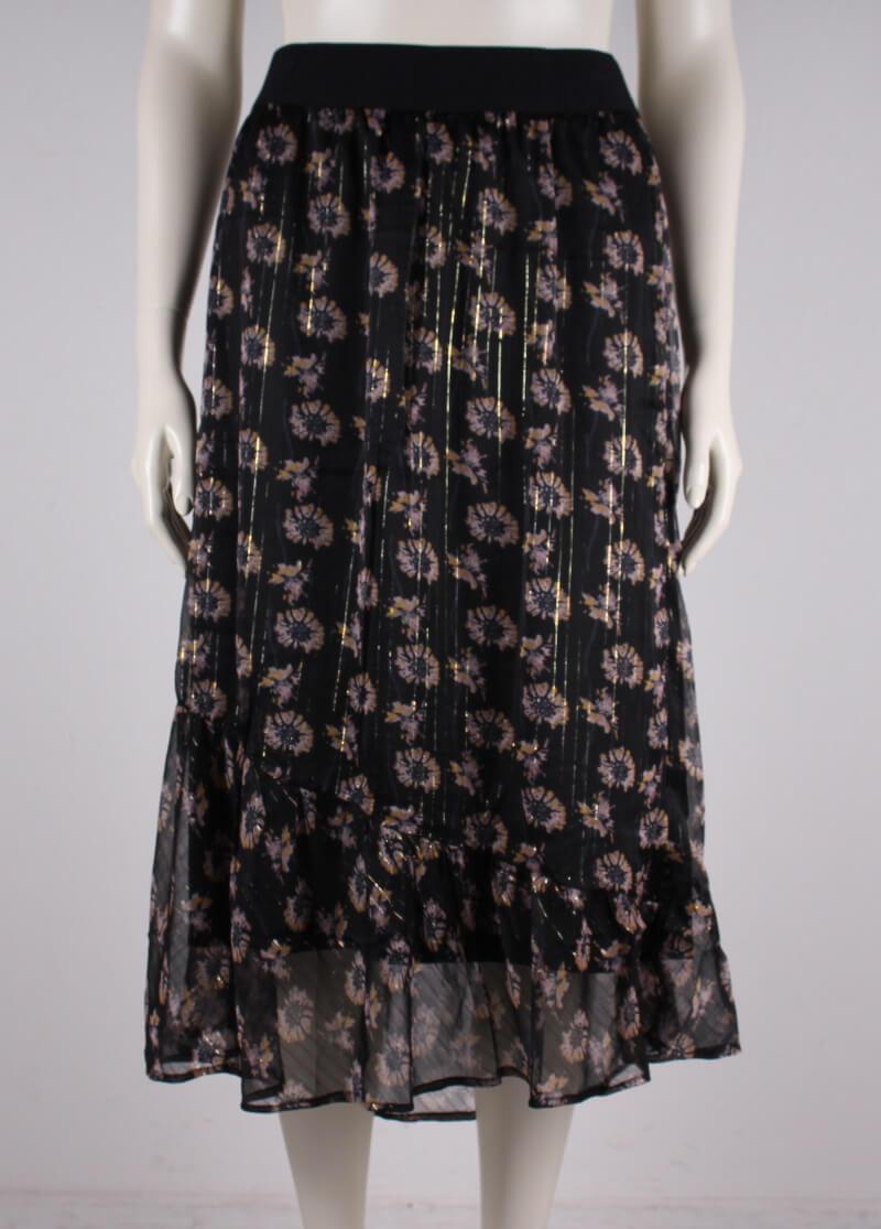 Adia – Plussize – blomstret lang nederdel – Sort – 50%