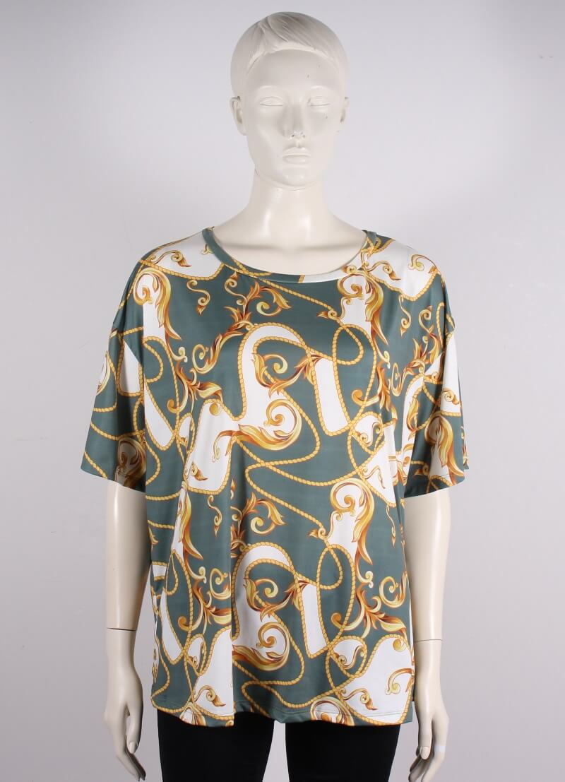 Cassiopeia – Plussize – Martha T-shirt – Grønt mønster – 50%