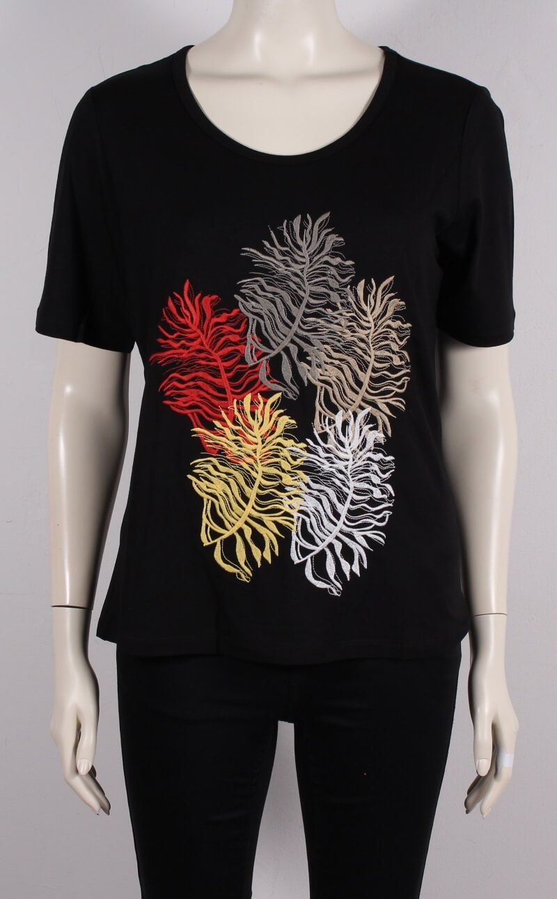 Choise – Smart Dame T-shirt m. Fjer Motiv – Sort – 50%