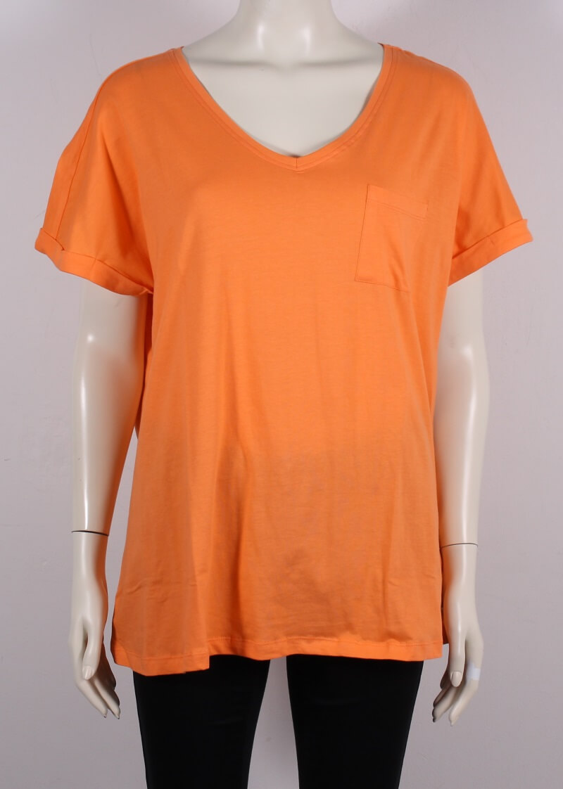 Zhenzi – Plussize Dame T-shirt m. lomme – Orange