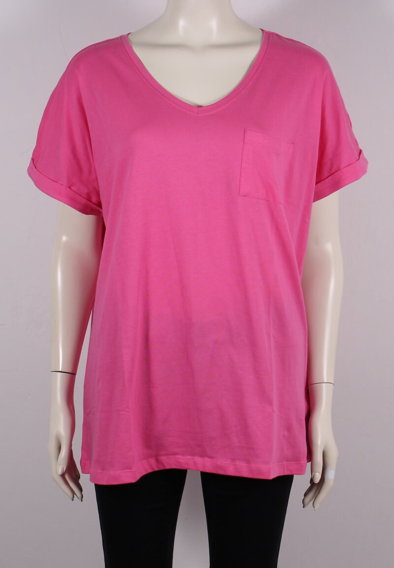 Zhenzi – Plussize Dame T-shirt m. lomme – Pink