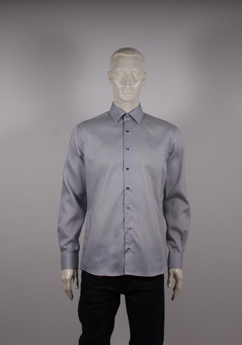 Eterna – Modern Fit Herre Skjorte – Grå mønstret