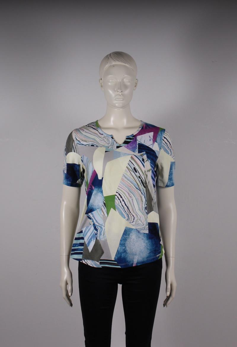 Elton – Dame t-shirt m. kort ærme og v-hals – Multi