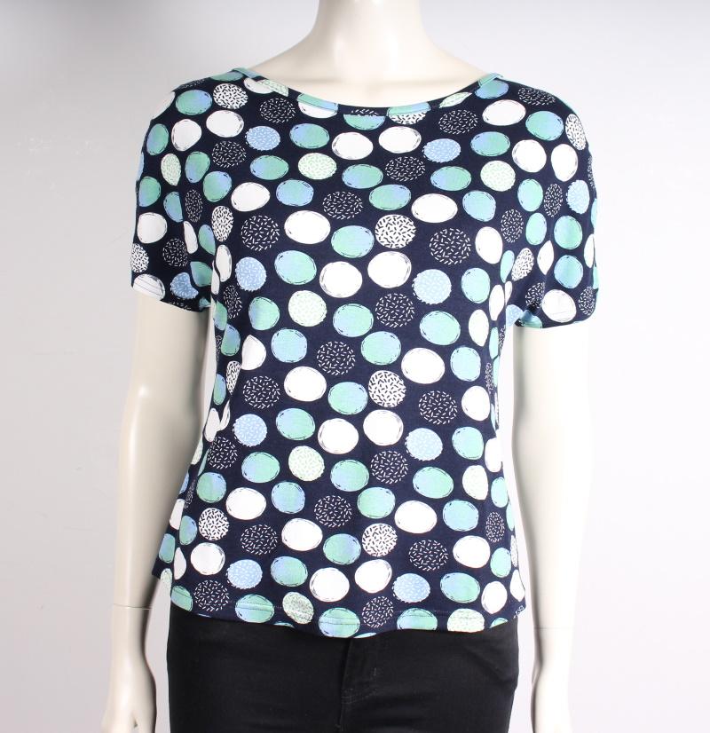 Mongul – Natalie Mønstret T-shirt – Mørkeblå