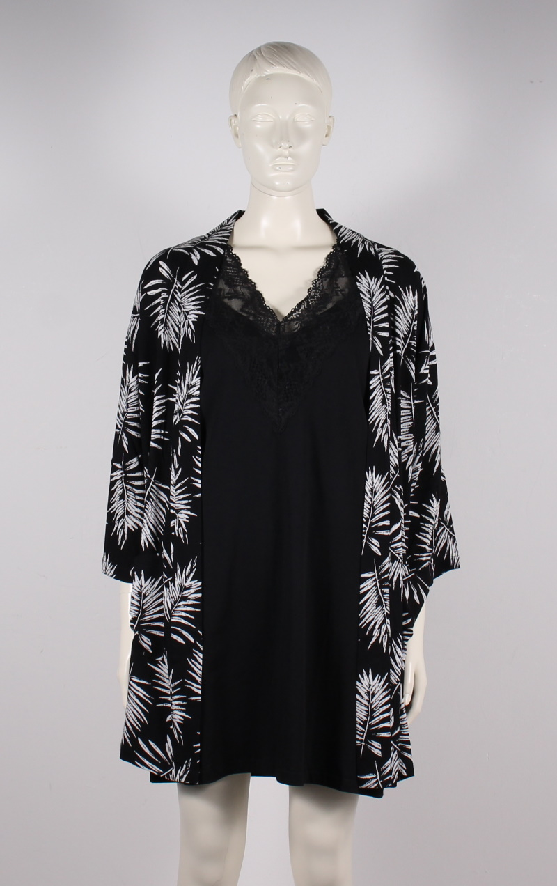 Adia – Plussize – Kimono m. Palmeprint – Sort