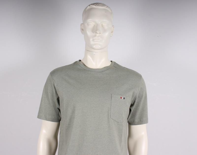 Bison Meleret T shirt m. Kort Ærme Støvet Grøn