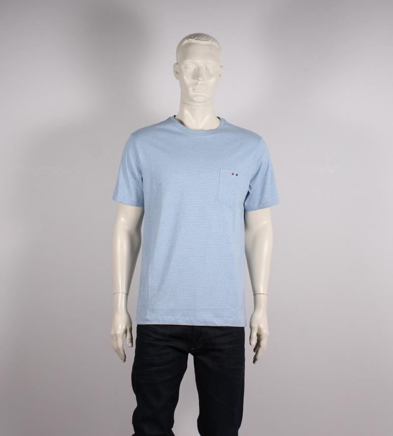 Bison Meleret T shirt m. Kort Ærme Lyseblå