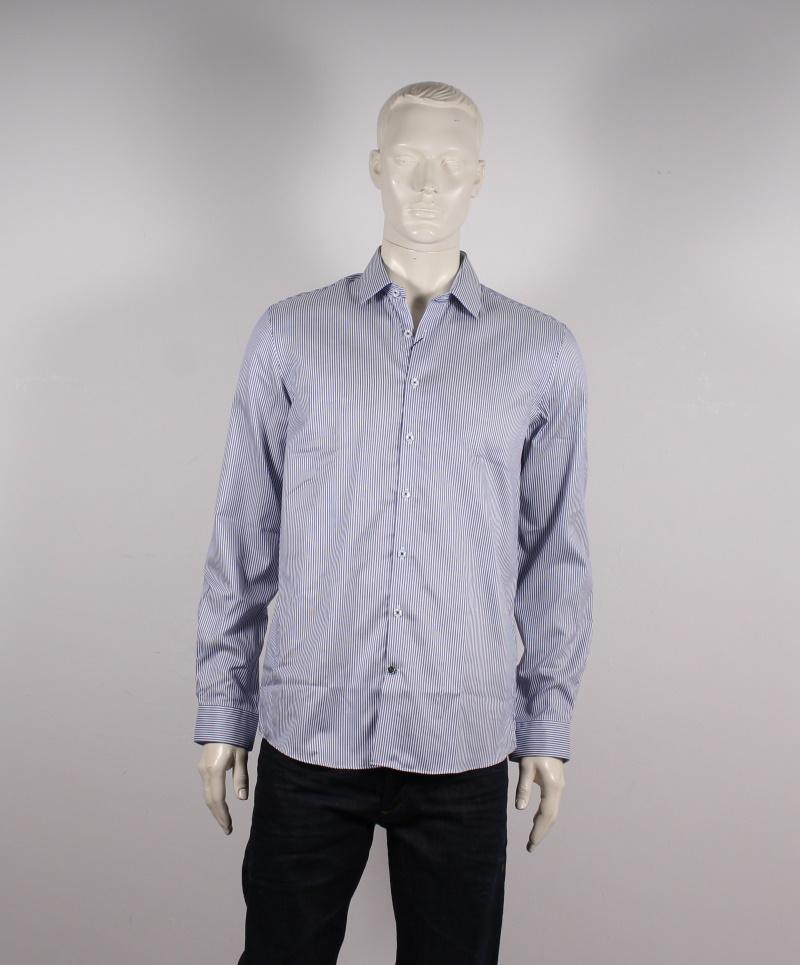 Lindbergh Black – Technical Skjorte – Blå stribet