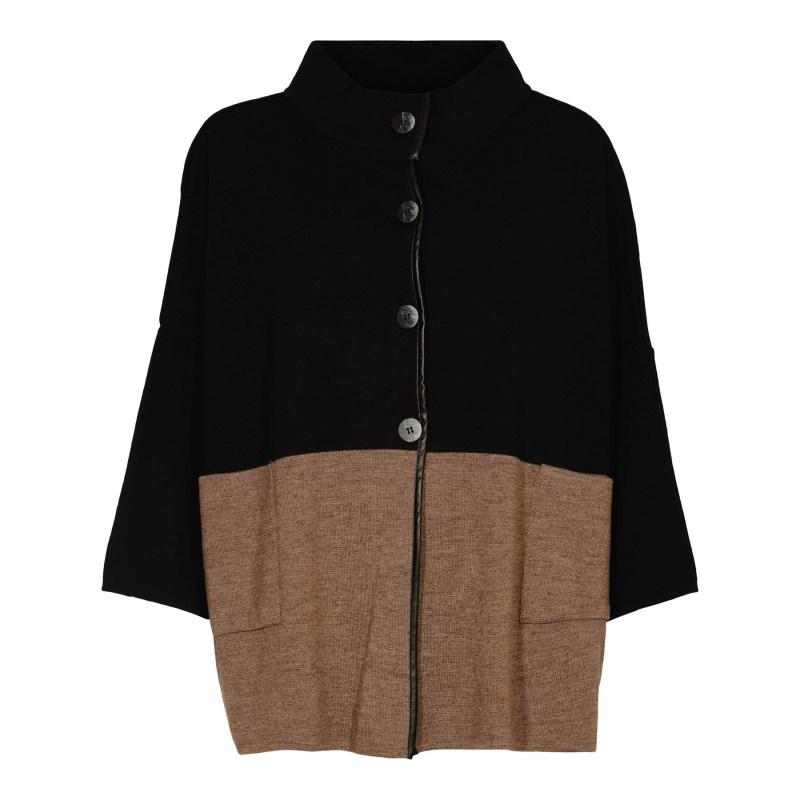 Skovhuus – Lækker Oversized Cardigan – Sort/Brun – 50%