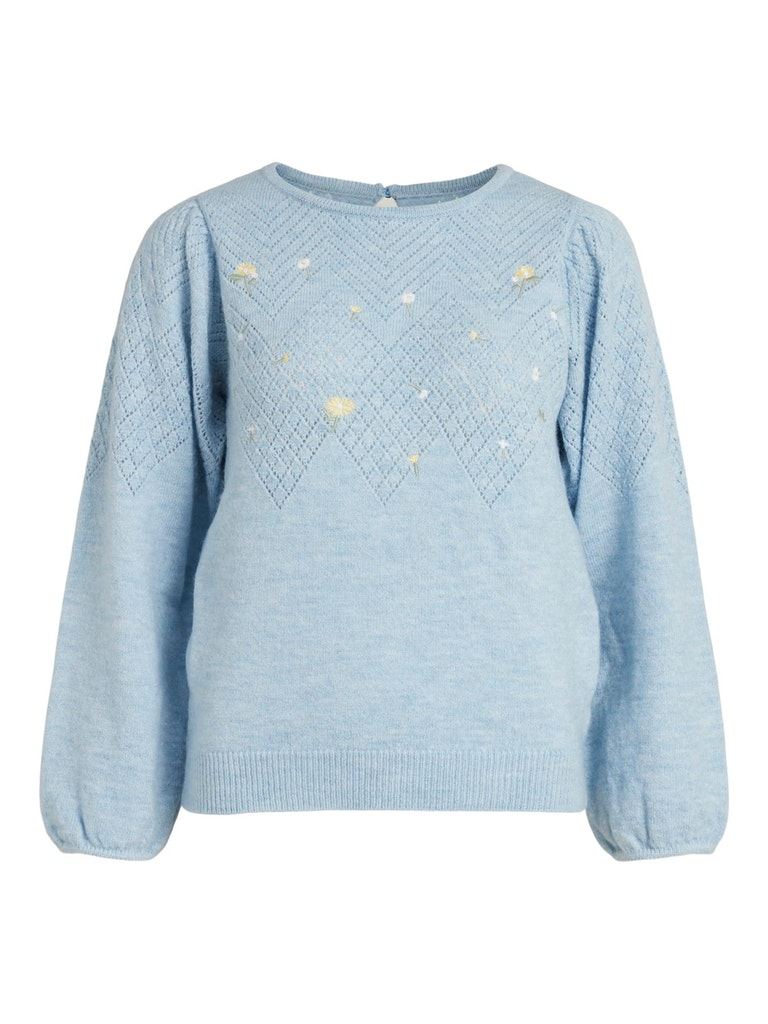 Vila – Daisy L/S O-Neck Knit – Cashmere Blue