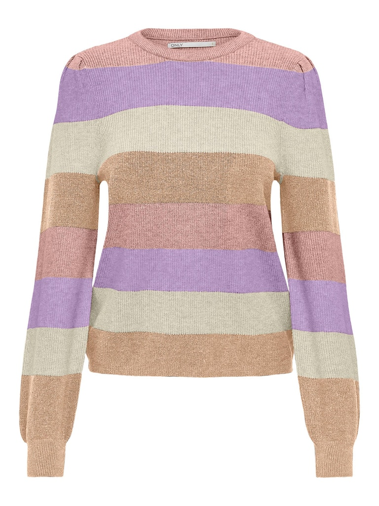 Only – Katia L/S Stripe Pullover Knt – Sepia Rose